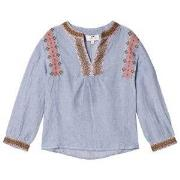 Cyrillus Blue and White Embroidered Blouse 14 years