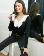Vero Moda top with v neck prairie collar in black