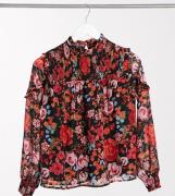 Vero Moda Petite chiffon blouse with high neck in red floral-Multi