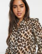 Vero Moda blouse with high neck and ruffle detail in leopard print-Mul...