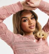 Vero Moda Petite jumper with patterned knit in pink