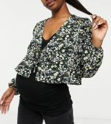 Fashion Union Maternity blouse with waist tie in ditsy floral-Black