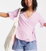 Vero Moda Petite wrap blouse in lilac ditsy floral-Purple